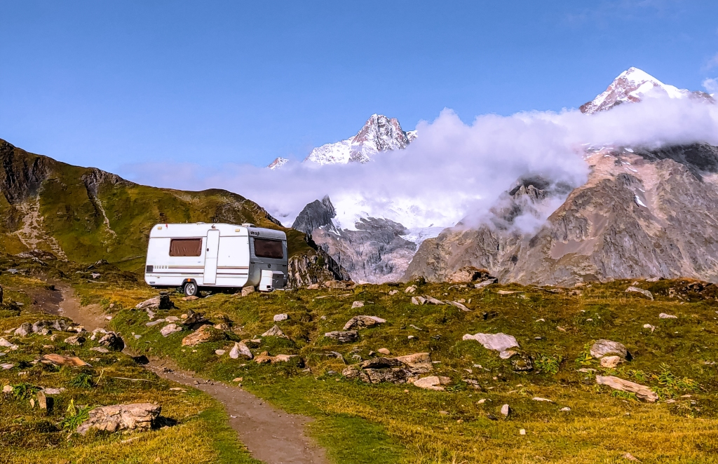 Beautiful views in the Aota valley along the tour du Mont Blanc.